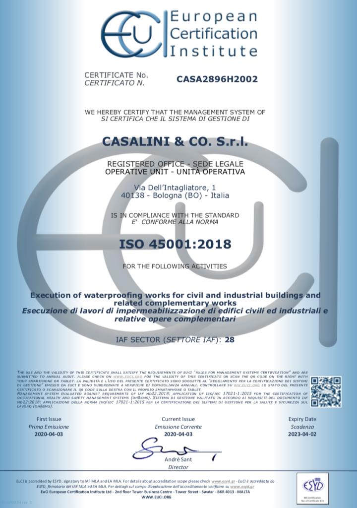certificato ISO CASALINI